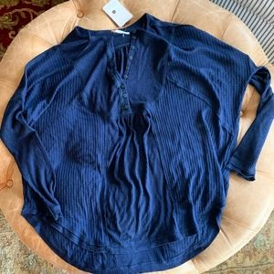 NWT Free People - Leo Henley in Indigo Blue Size S